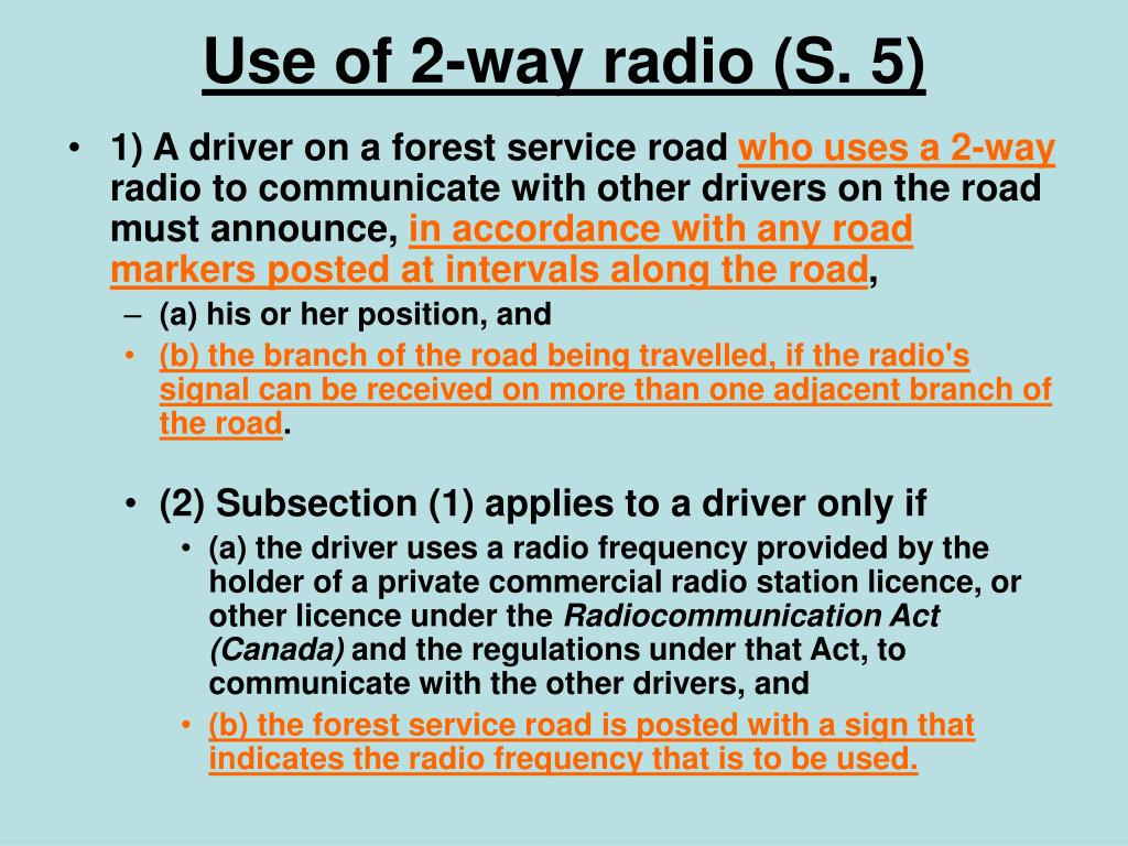 Use of 2-way radio (S. 5)
