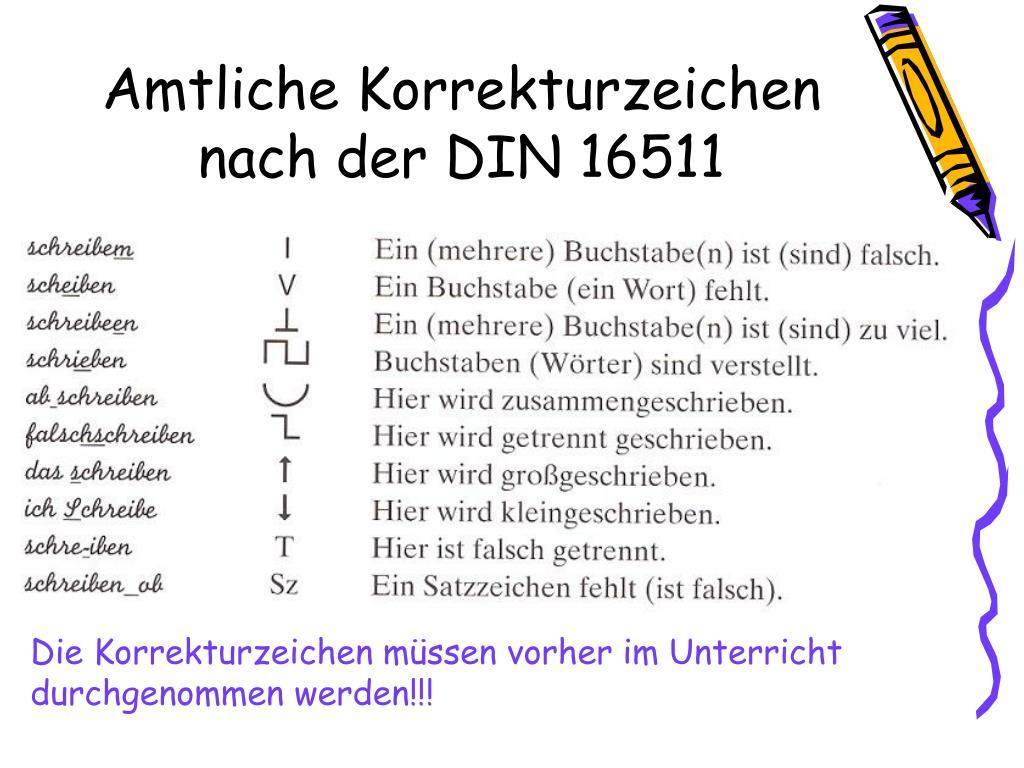 Amtliche Korrekturzeichen nach der DIN 16511