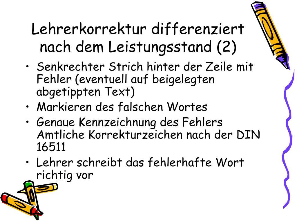 Lehrerkorrektur differenziert nach dem Leistungsstand (2)