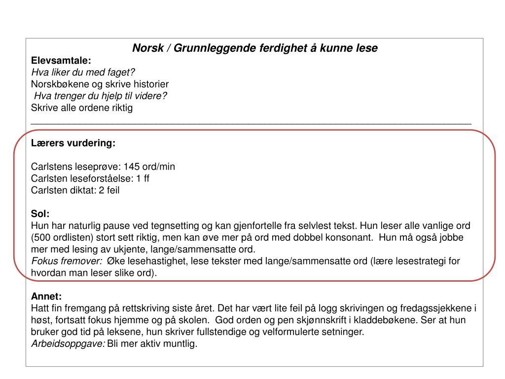 Norsk / Grunnleggende ferdighet å kunne lese