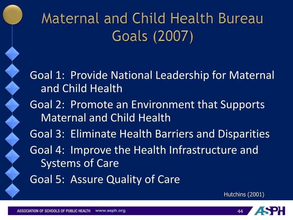 Maternal and Child Health Bureau Goals (2007)