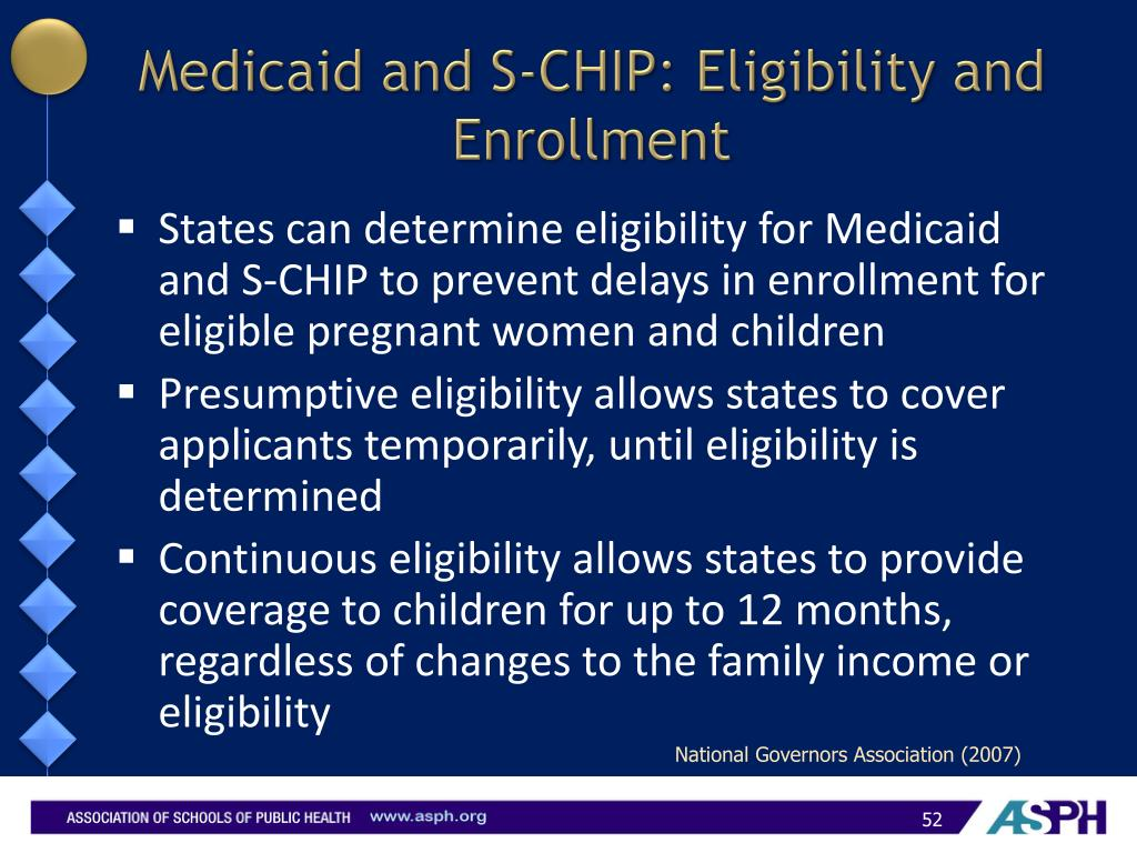 Medicaid and S-CHIP: Eligibility and Enrollment