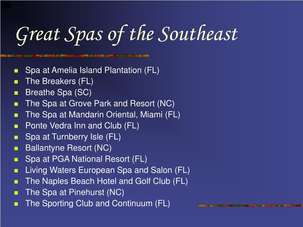 Great Spas of the Southeast
