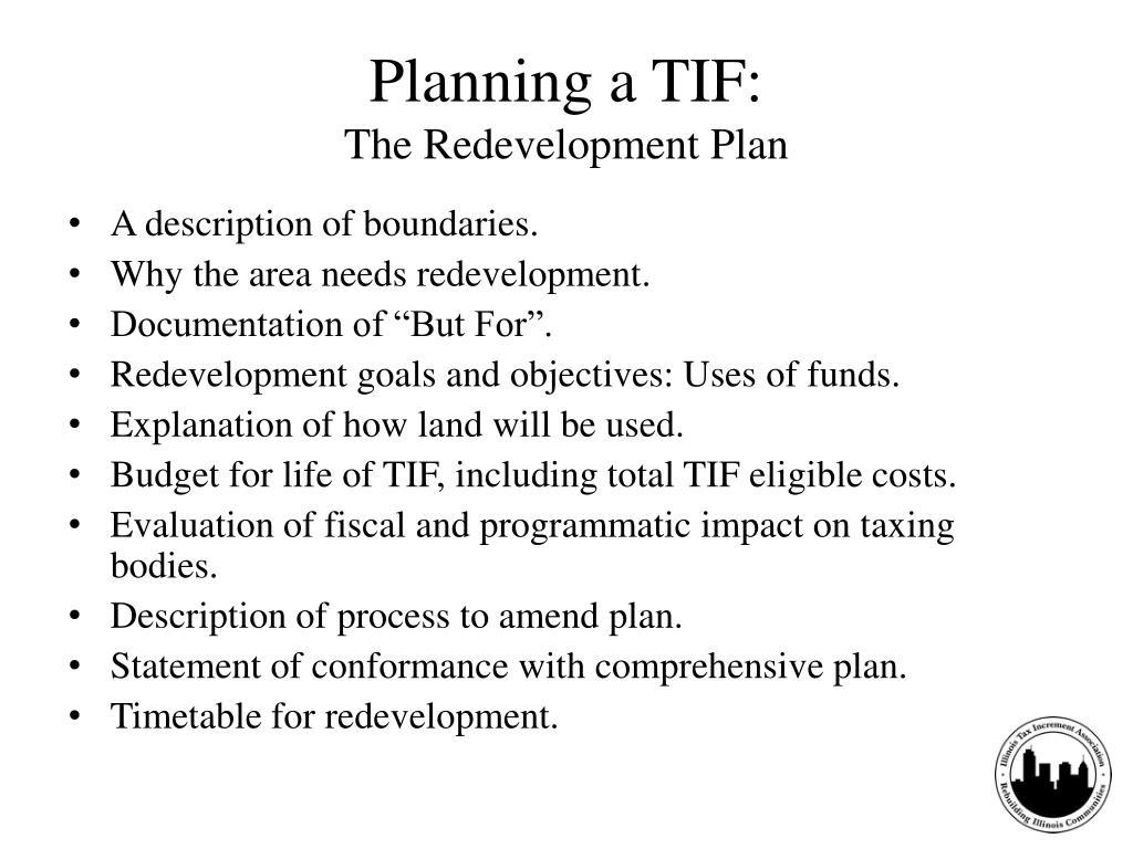 Planning a TIF:
