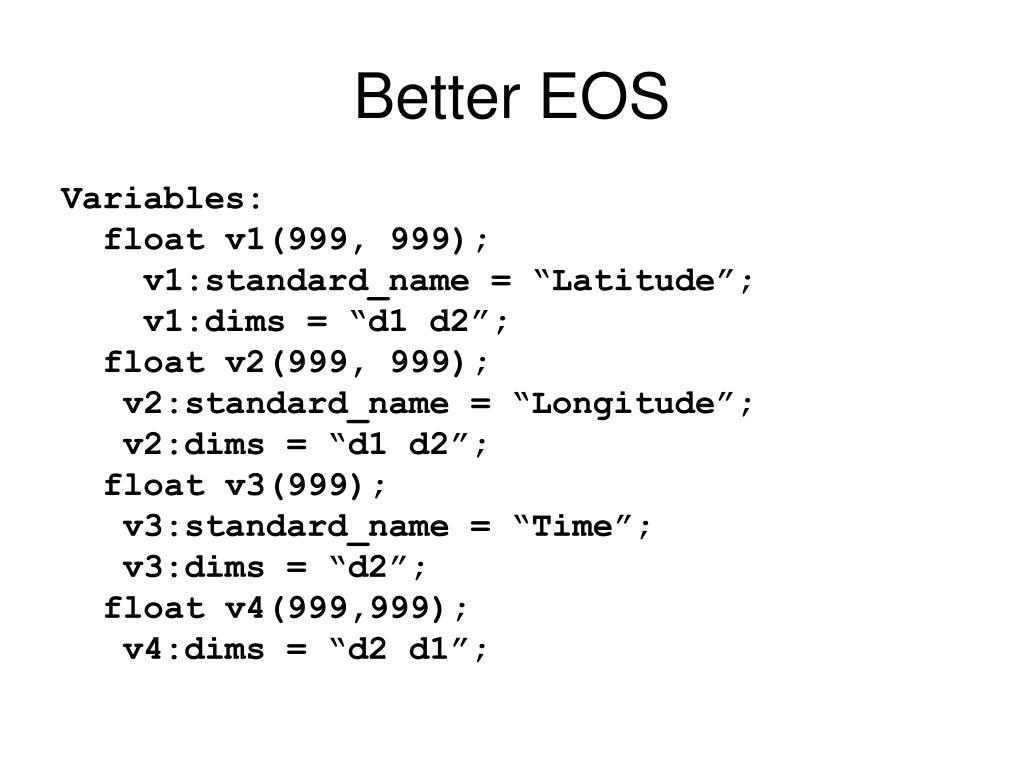Better EOS