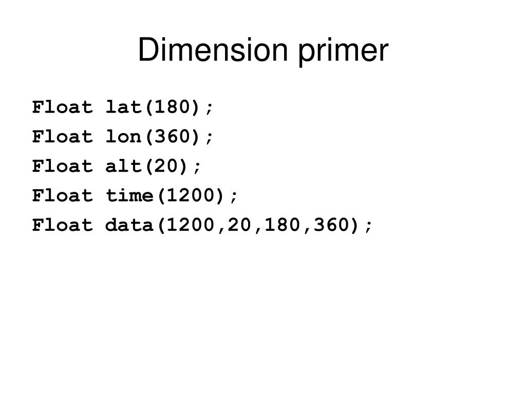 Dimension primer