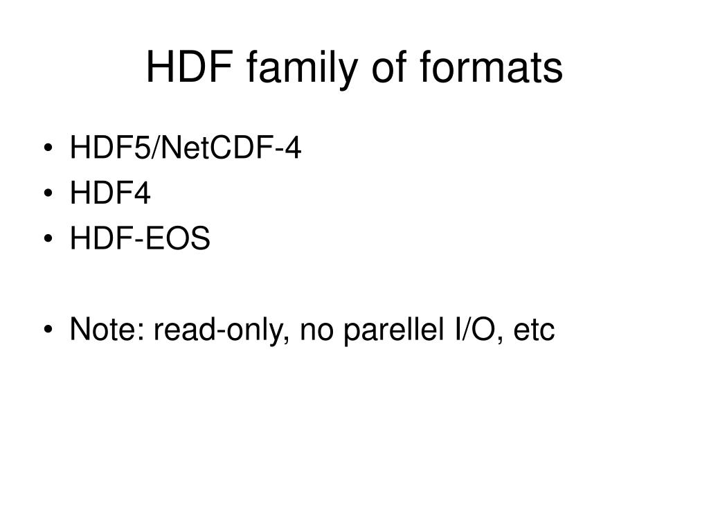HDF family of formats