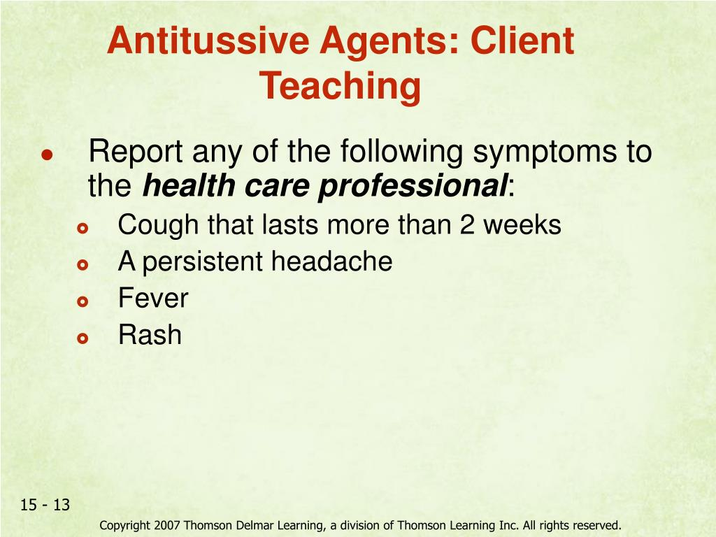 Antitussive Agents: Client Teaching