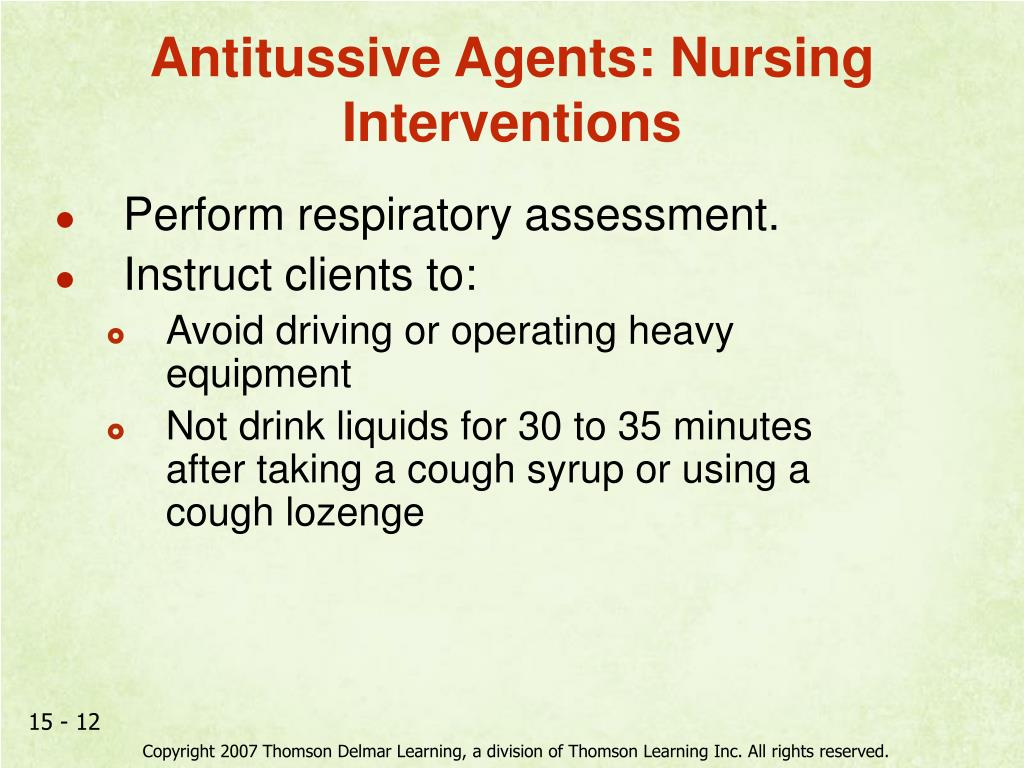 Antitussive Agents: Nursing Interventions