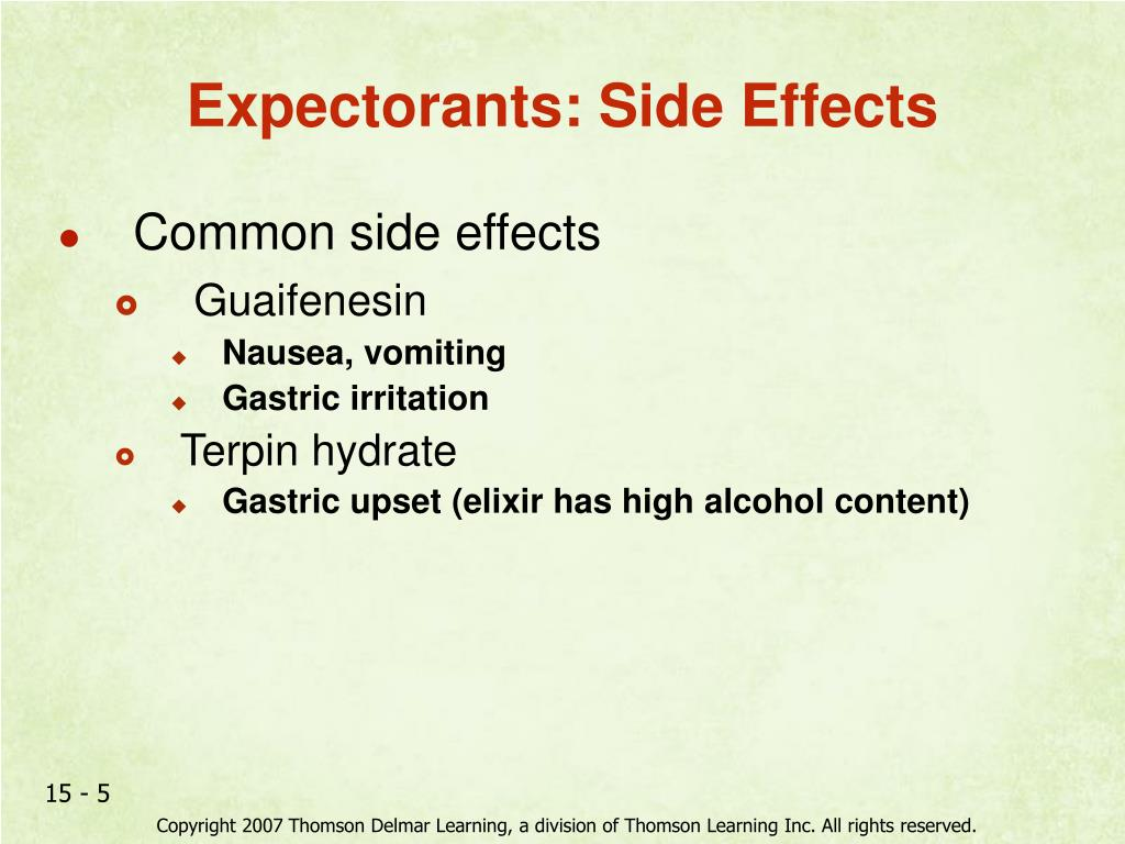 Expectorants: Side Effects