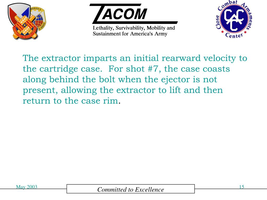 The extractor imparts an initial rearward velocity to the cartridge case.  For shot #7, the case coasts along behind the bolt when the ejector is not present, allowing the extractor to lift and then return to the case rim