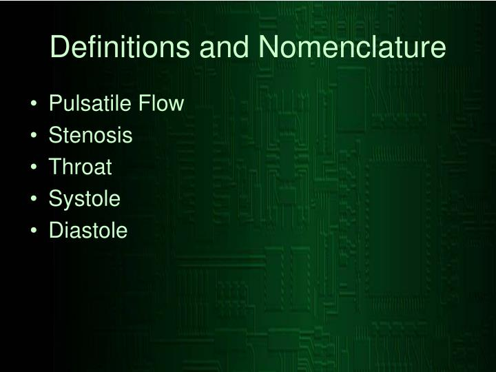 Definitions and nomenclature