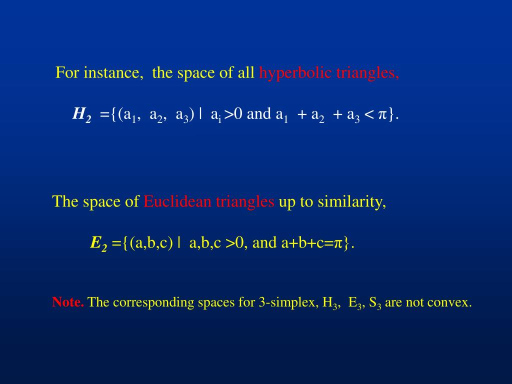For instance,  the space of all