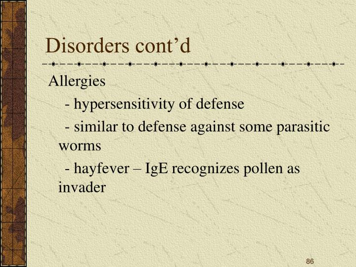 Disorders cont'd