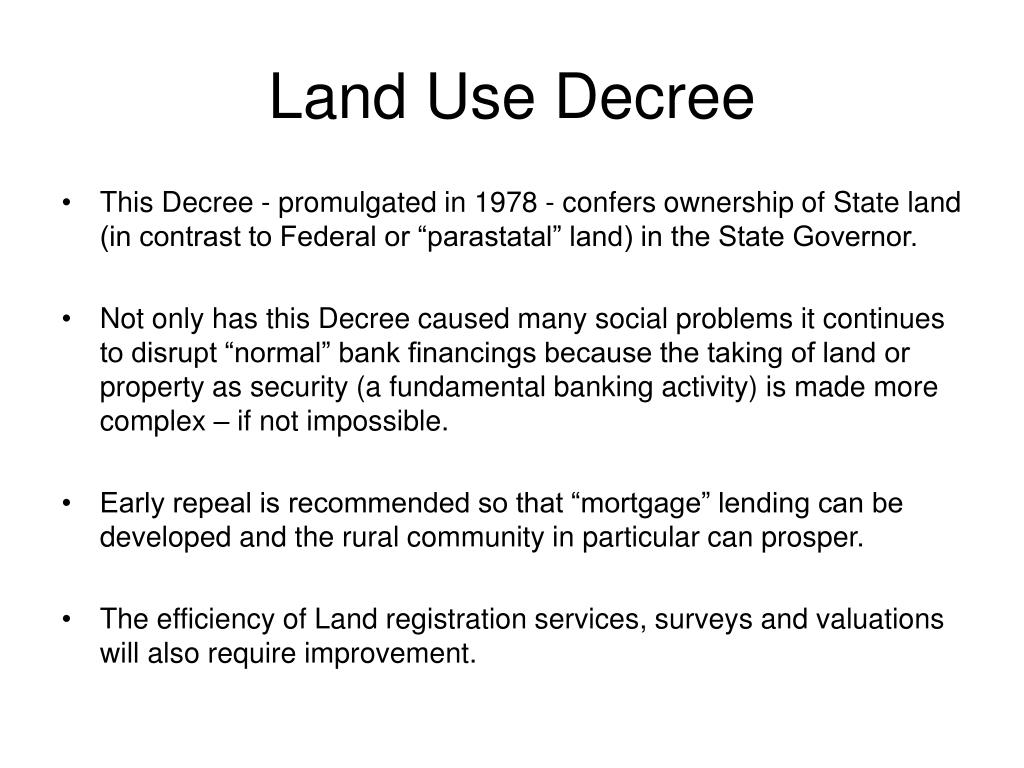 Land Use Decree