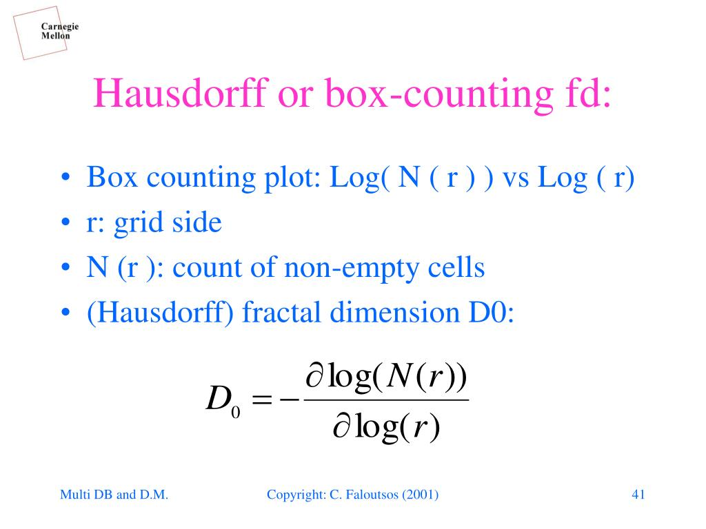 Hausdorff or box-counting fd: