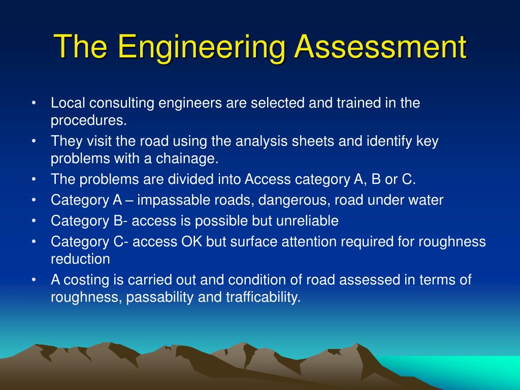 The Engineering Assessment