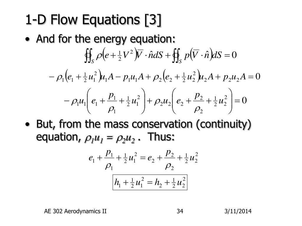 1-D Flow Equations [3]