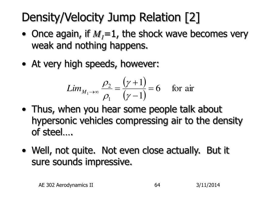 Density/Velocity Jump Relation [2]