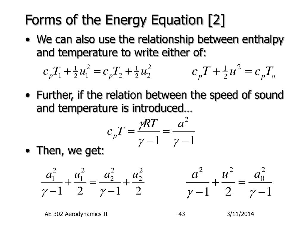 Forms of the Energy Equation [2]