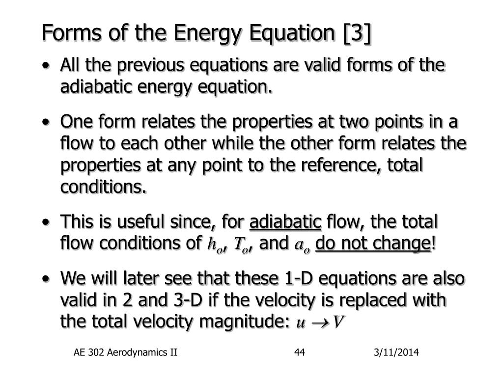 Forms of the Energy Equation [3]