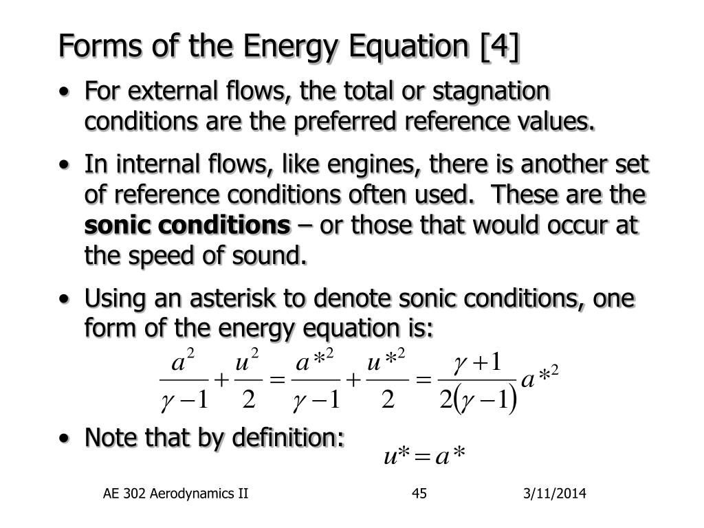 Forms of the Energy Equation [4]