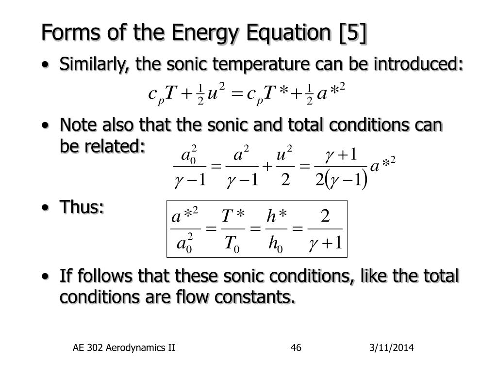 Forms of the Energy Equation [5]