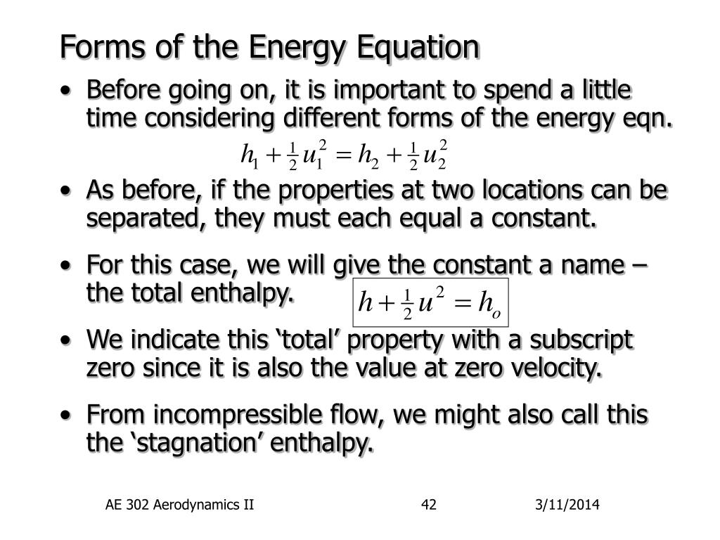 Forms of the Energy Equation
