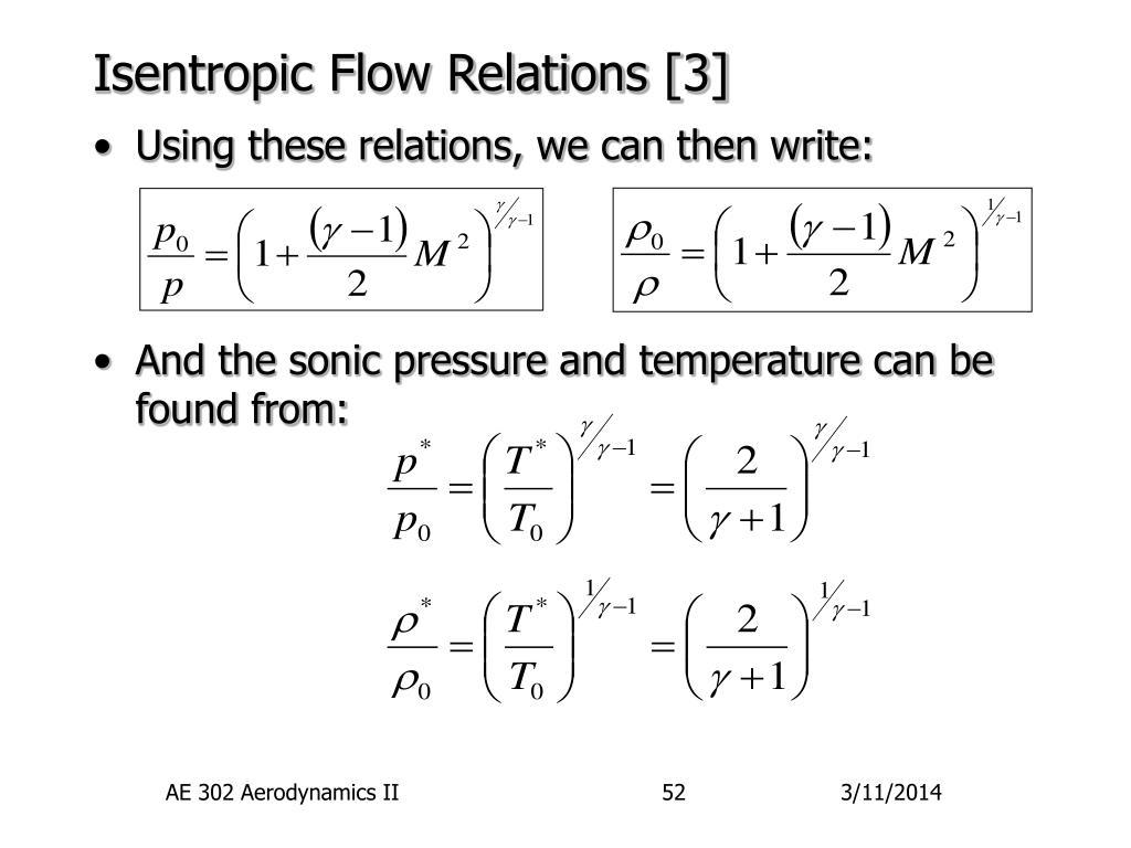 Isentropic Flow Relations [3]