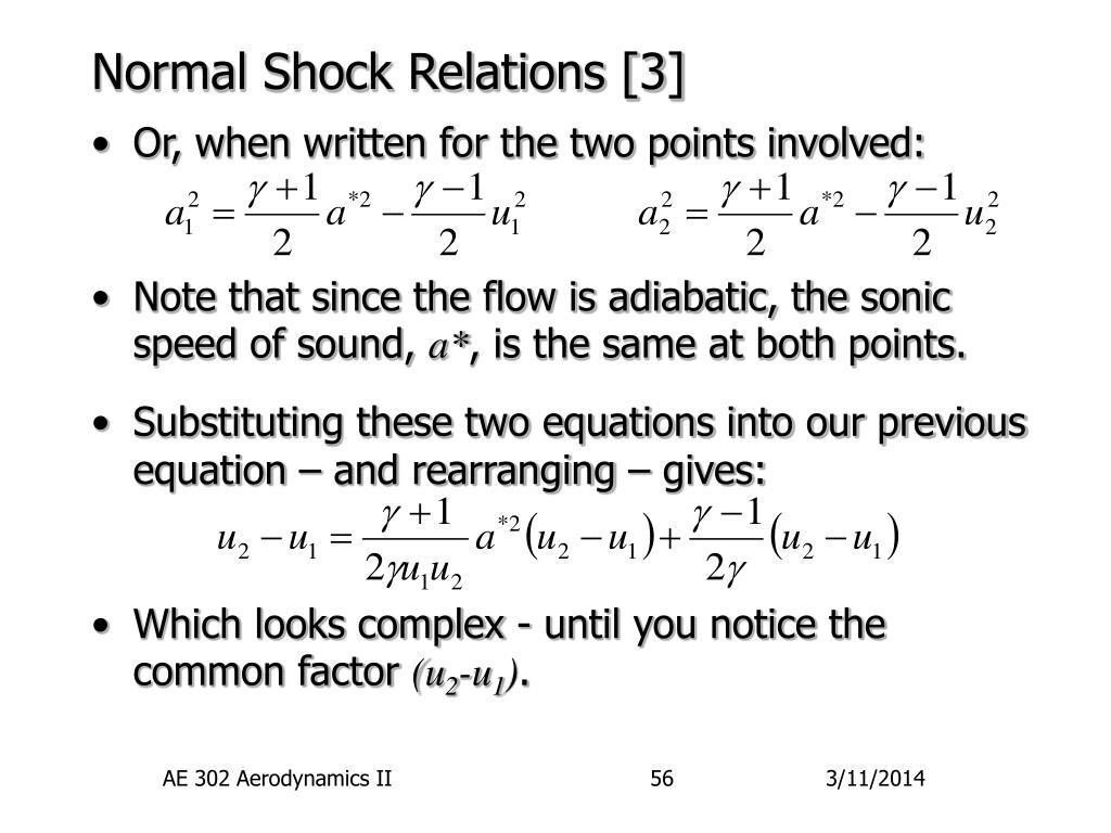 Normal Shock Relations [3]