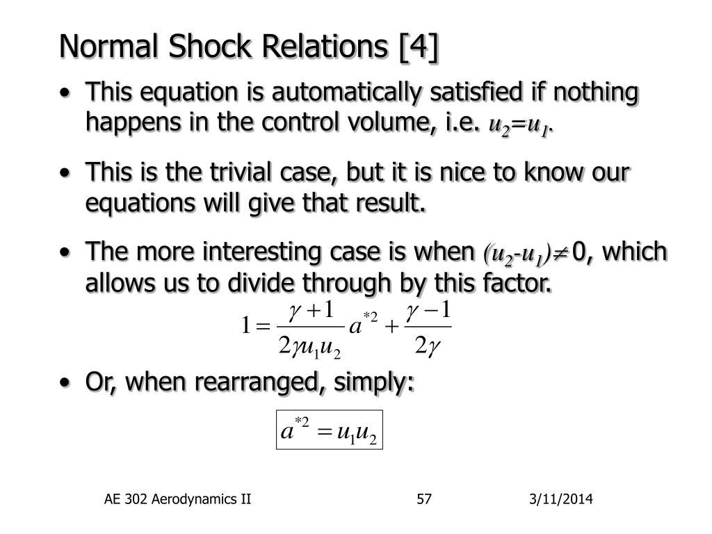 Normal Shock Relations [4]
