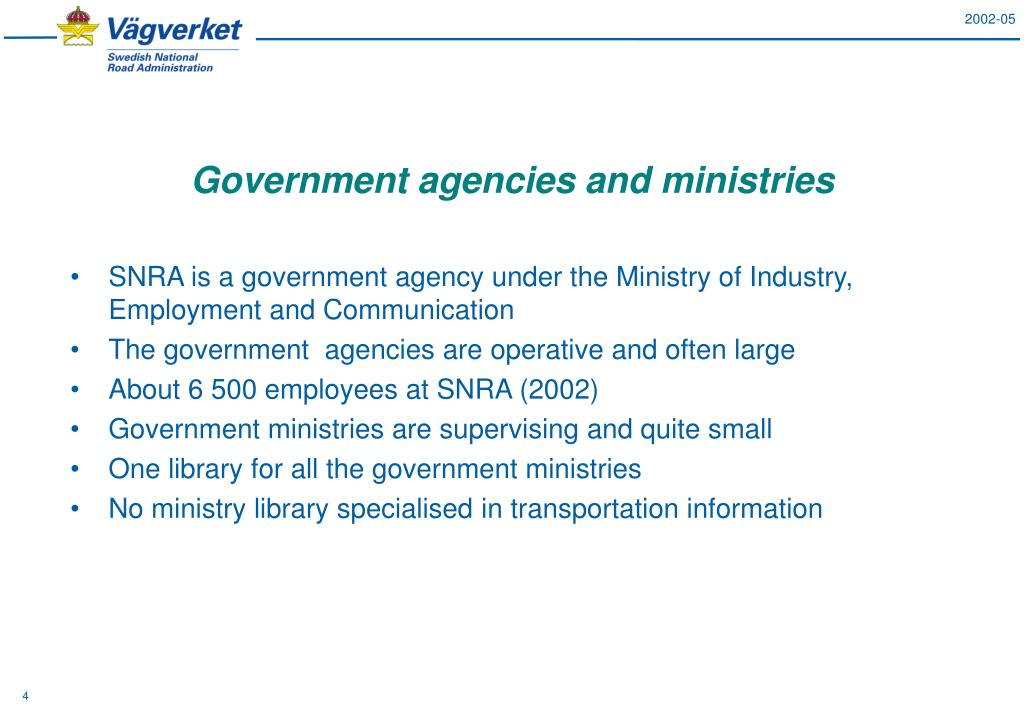 Government agencies and ministries