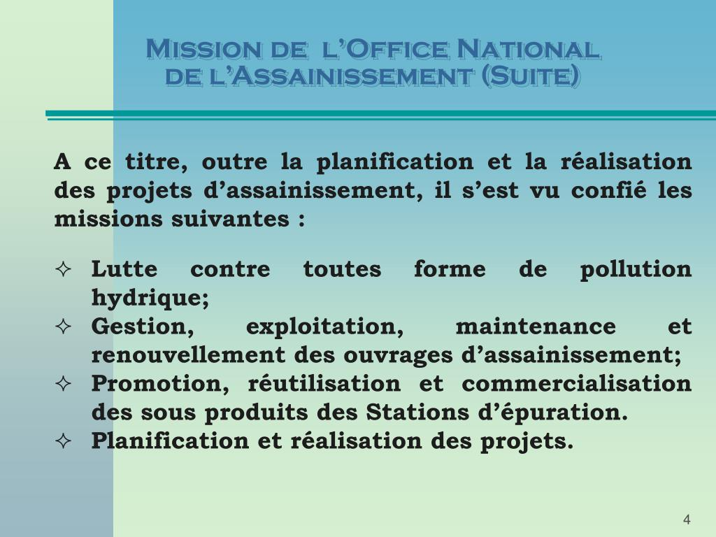 Mission de  l'Office National