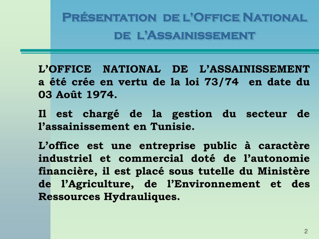 Présentation  de l'Office National