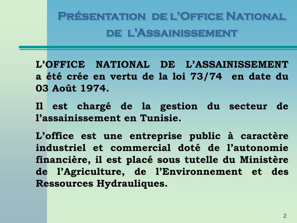 Présentation  de l'Office National