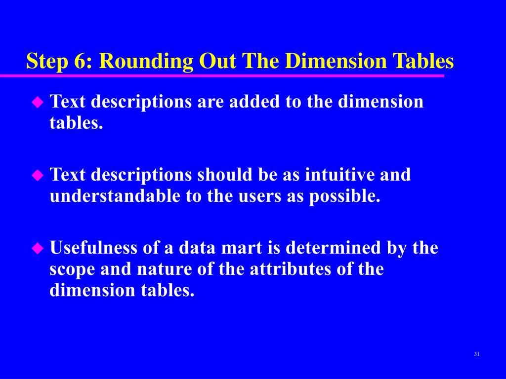 Step 6: Rounding Out The Dimension Tables