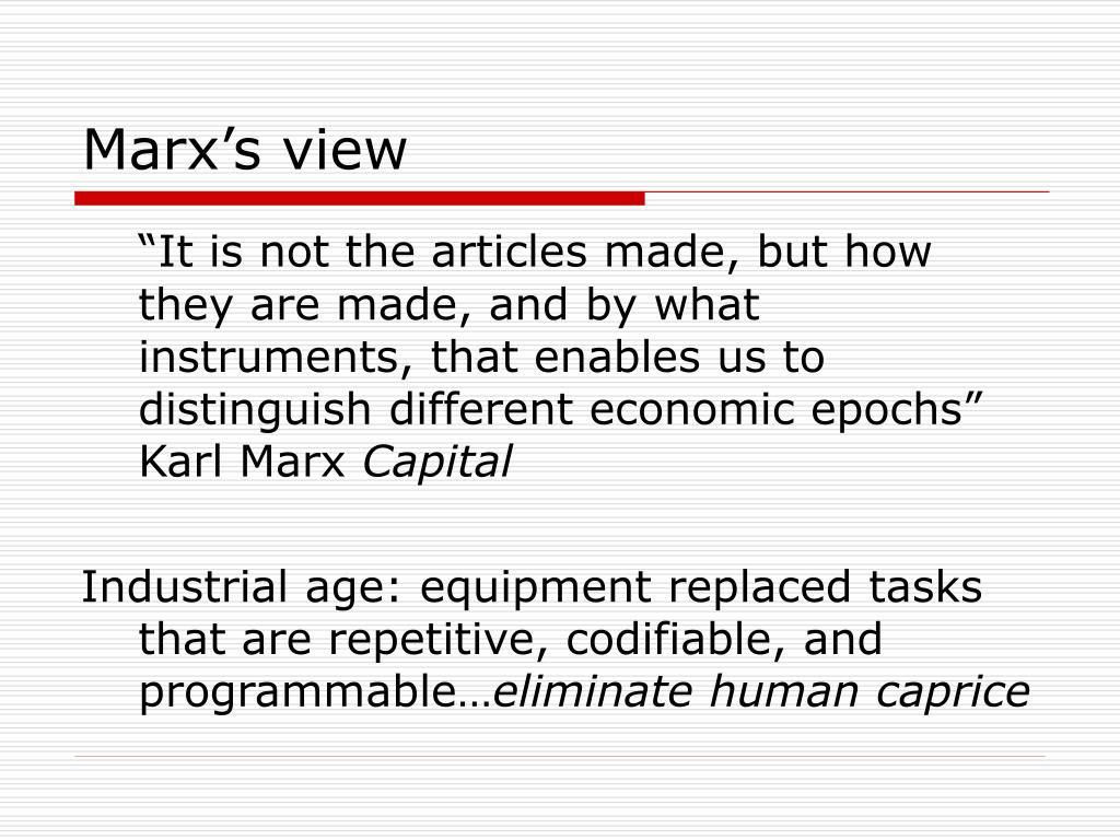 Marx's view