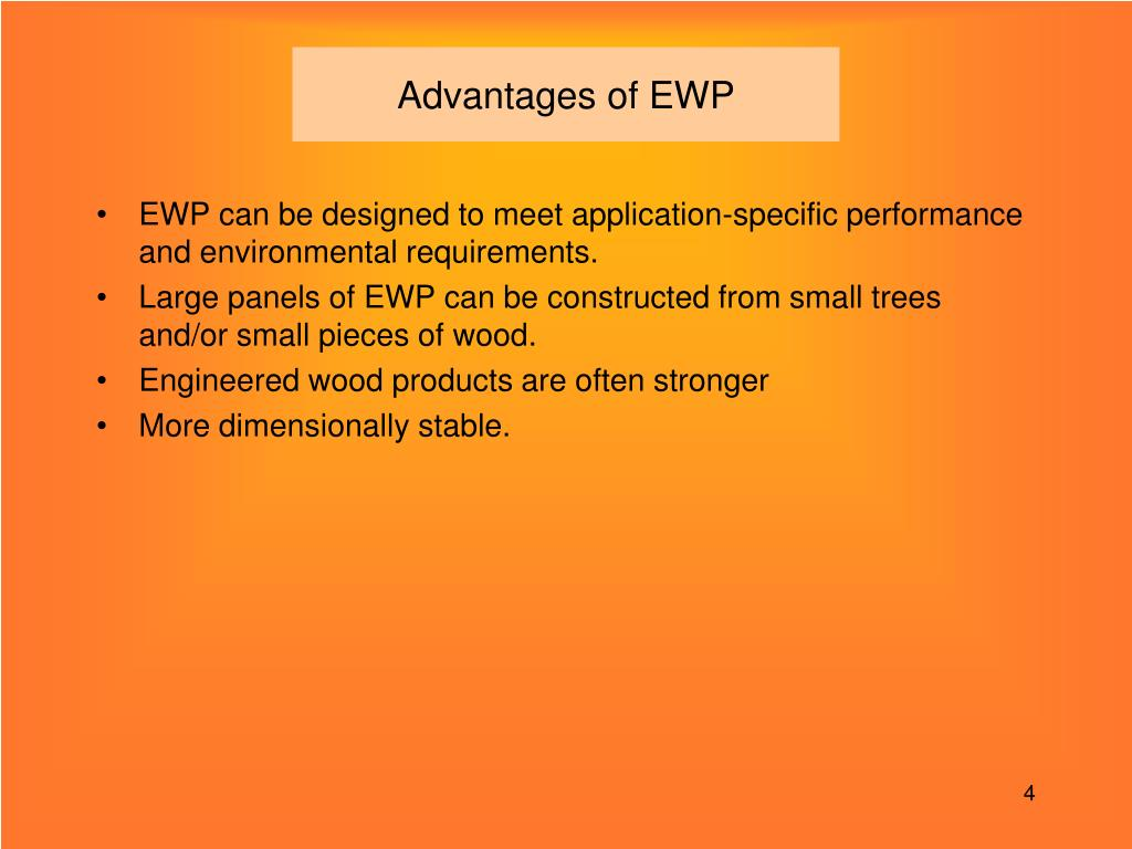 Advantages of EWP
