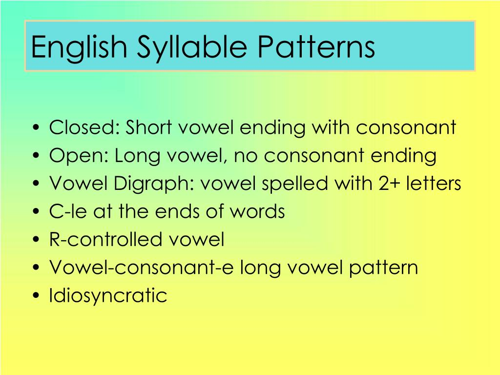 English Syllable Patterns