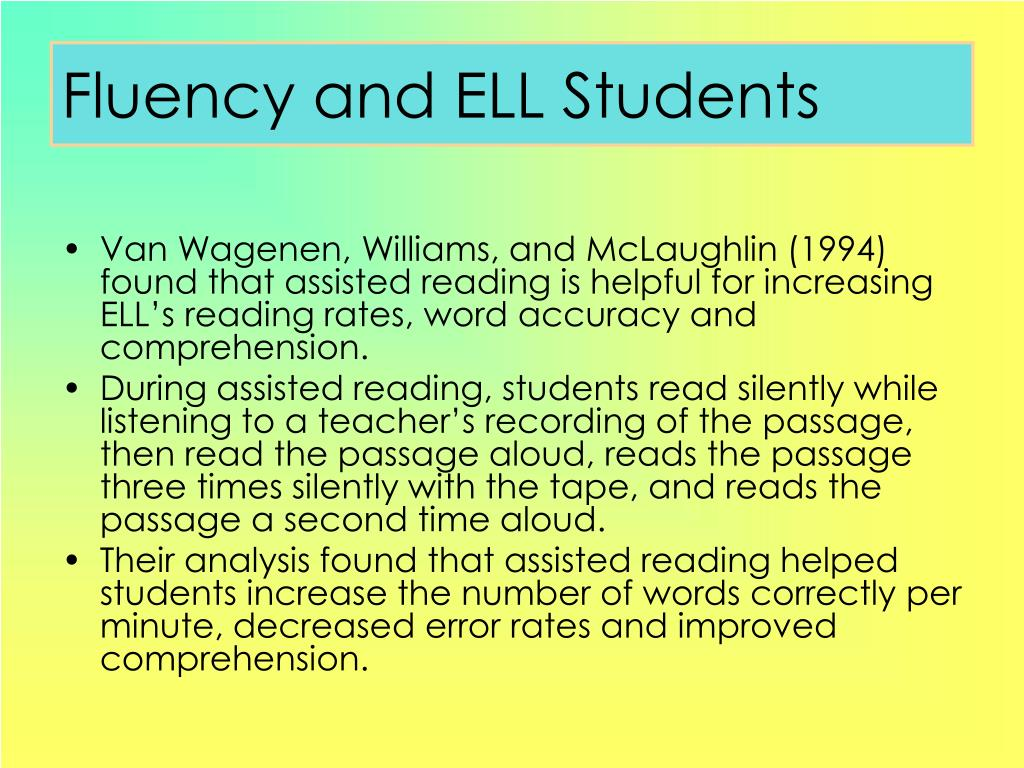 Fluency and ELL Students