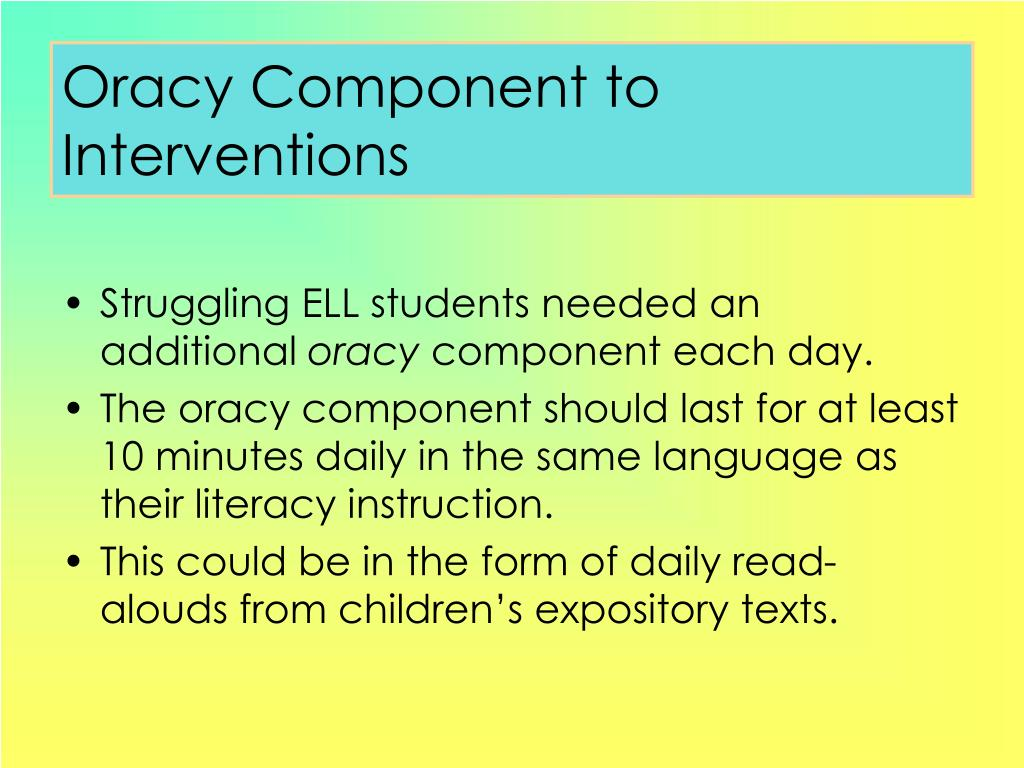 Oracy Component to Interventions