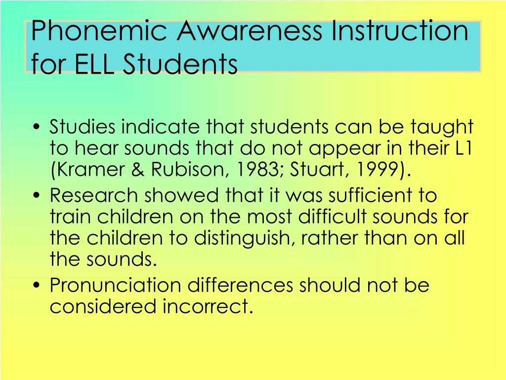 Phonemic Awareness Instruction for ELL Students