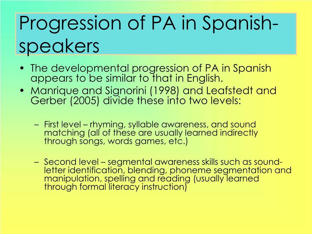 Progression of PA in Spanish-speakers