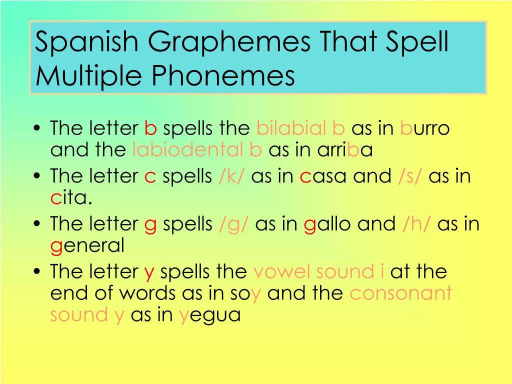 Spanish Graphemes That Spell