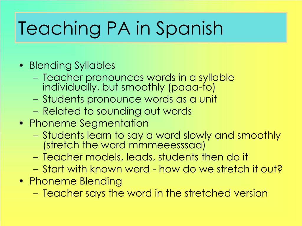 Teaching PA in Spanish