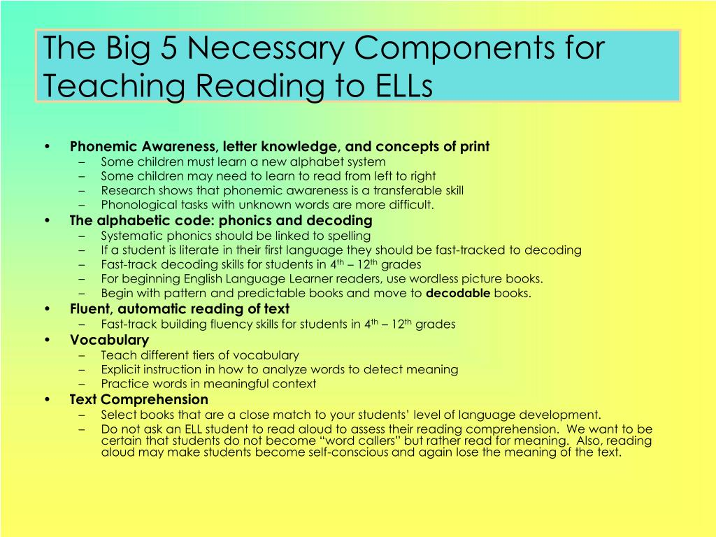 The Big 5 Necessary Components for Teaching Reading to ELLs