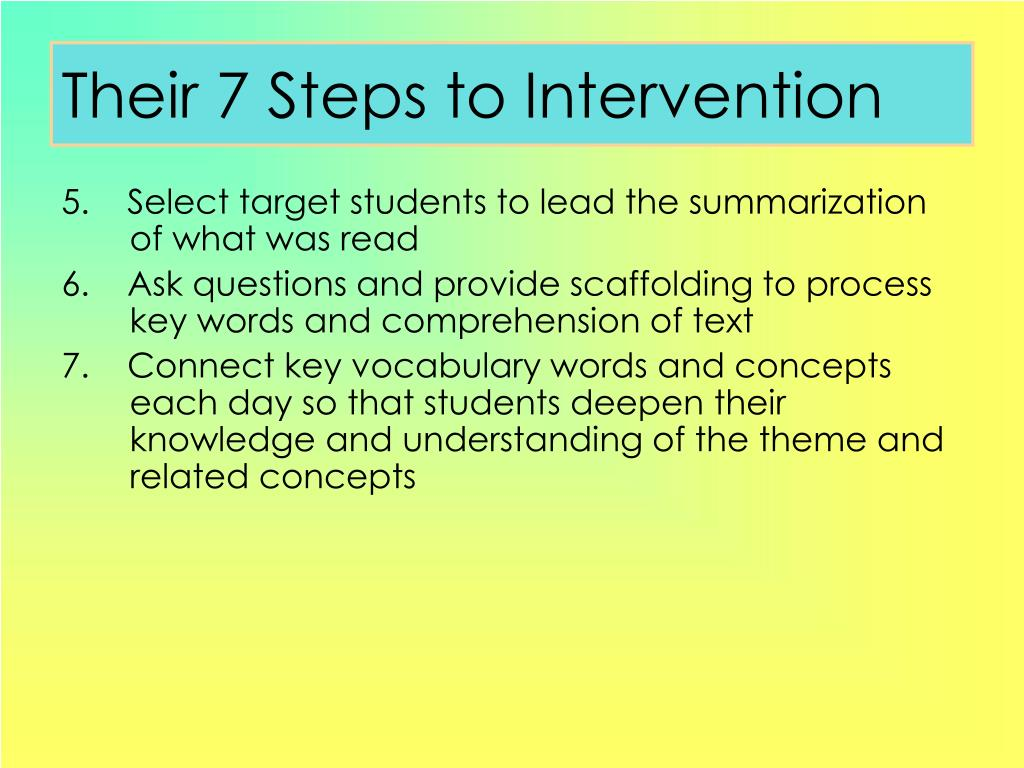 Their 7 Steps to Intervention
