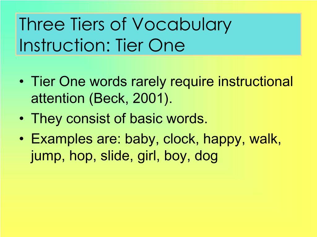 Three Tiers of Vocabulary Instruction: Tier One
