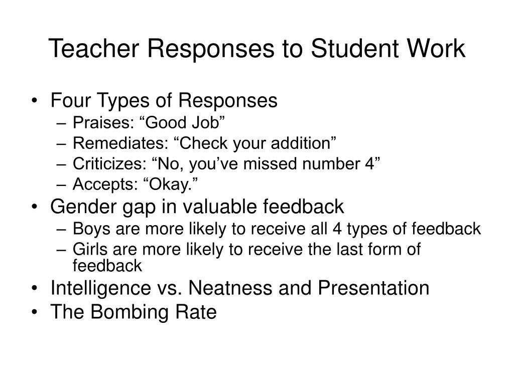 Teacher Responses to Student Work