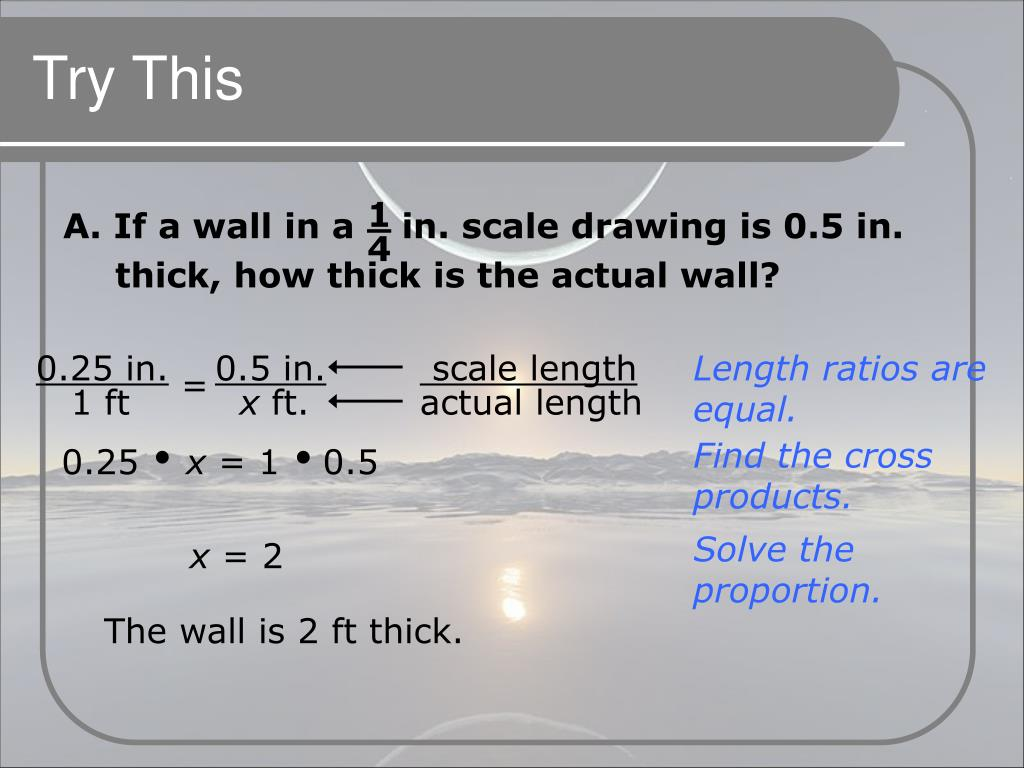 A. If a wall in a    in. scale drawing is 0.5 in. thick, how thick is the actual wall?